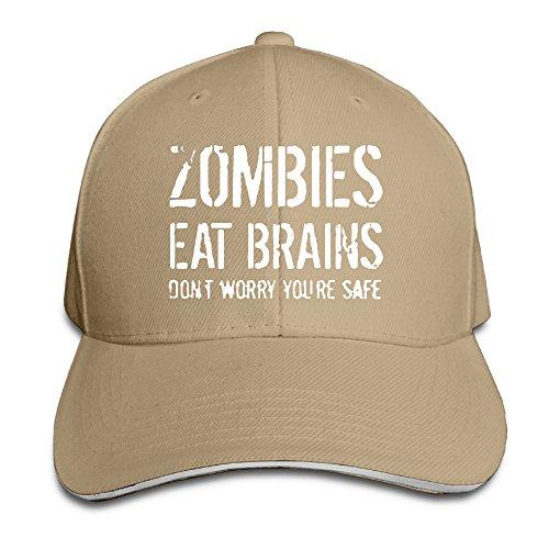 Indiana Jones Costume Makeup (UanQ Classic Unisex-Adult Zombies Eat Brains Trucker Hats Caps Natural)