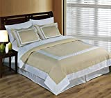 Deluxe Reversible Hotel Comforter Set, 100% Egyptian Cotton 300 Thread Count Bedding, woven with superior single-ply yarn. 3 piece Full / Queen Size Comforter Set, Linen and White