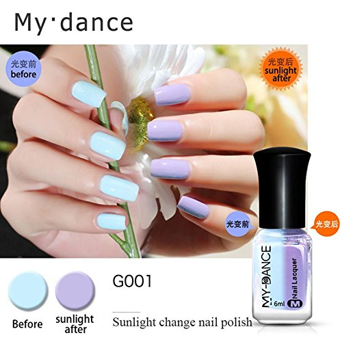 Polish Varnish (Besde Beauty Nail Thermal Nail Polish Peel Off Sunlight Colour Changing Varnish Polish (6ml, A))
