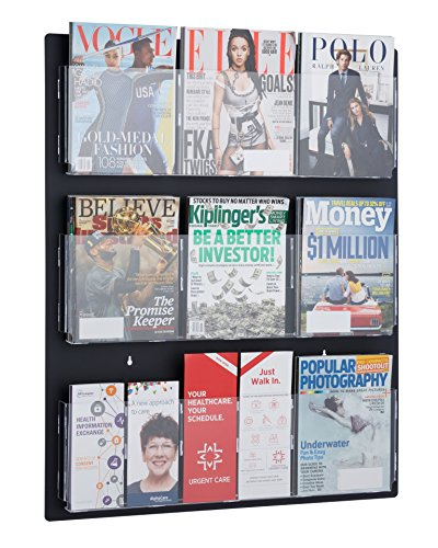 AdirOffice Hanging Magazine Rack with Clear Acrylic Adjustable Pockets, 29