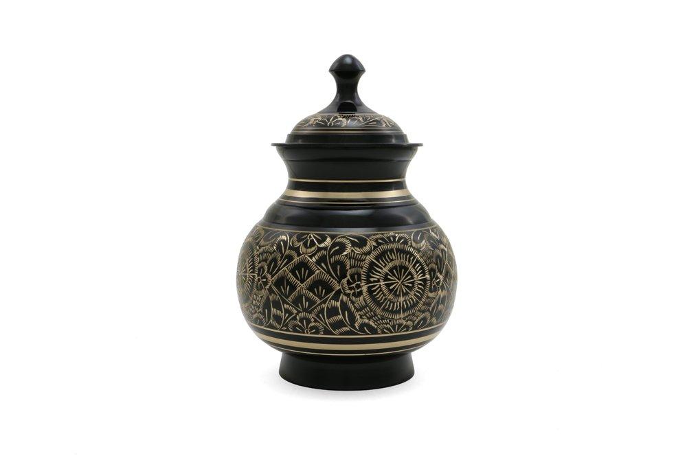 Near & Dear Pet Memorials 40 Cubic Inch Engraved Pet Cremation Urn, Medium, Black
