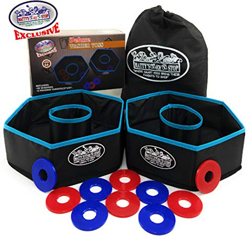 Matty's Toy Stop Deluxe Collapsible Washer Toss Game with 10 Washer Discs & Storage Bag ()