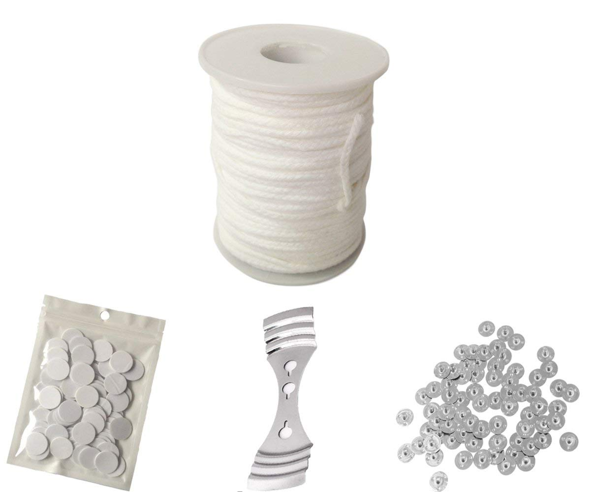 100 dots Double-Sided Wick Stickers and 1 Piece Stainless Wick Fixed Holder Homankit 24 Ply Braided Wicks 200 Feet Candle Wick for Candle Making with 100 pcs Candle Wick Sustainer Tabs