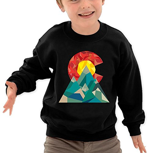 Puppylol Colorado Geo Kids Classic Crew-Neck Pullover Hoodie Black 3 Toddler