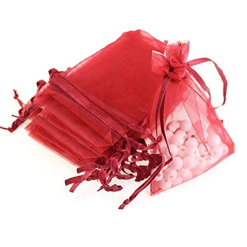Red Organza Gift Bags - AKStore 100Pcs 2.8