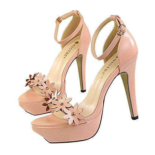 z&dw Elegantes tacones altos impermeable Taiwán flor remache sandalias decorativas Rosa