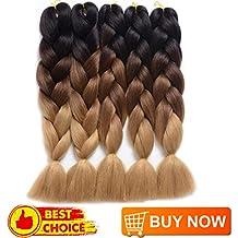 "DingDian Braiding Hair Ombre Kanekalon Jumbo Braids Synthetic Braiding Hair 5Pcs/Lot Hair Extension for Twist Braiding Hair (24"" Black-Dark brown-Light brown)"