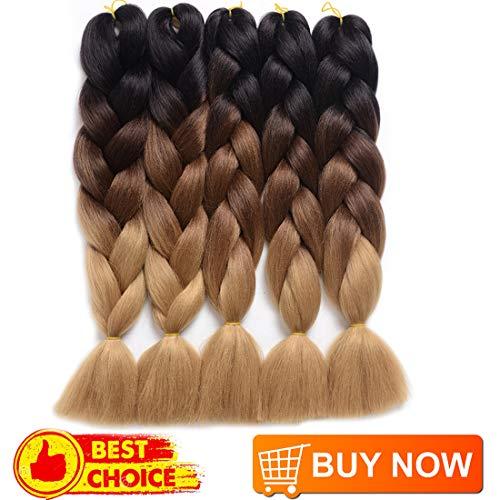 DingDian Braiding Hair Ombre Kanekalon Jumbo Braids Synthetic Braiding Hair 5Pcs/Lot Hair Extension for Twist Braiding Hair