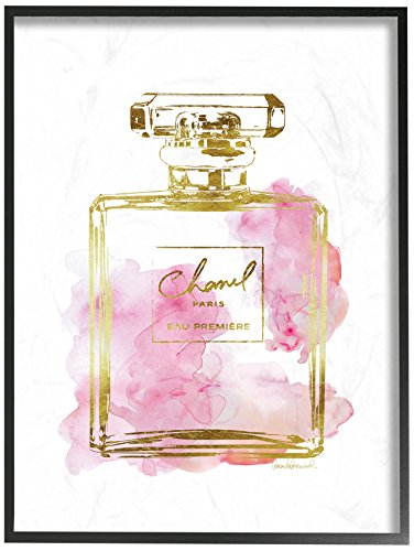 The Stupell Home Decor Collection Stupell Industries Glam Perfume Bottle Gold Pink Oversized Framed Giclee Texturized Art, Proudly Made in USA
