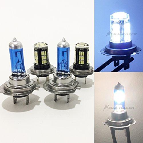Mega Racer 2 Pair H7 Super White 55 Watt Halogen 5000K H7 Crystal Clear 42 LED 8000K Xenon Light Lamp Headlight Bulb High/Low Beam