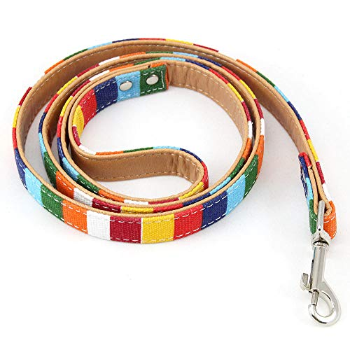 - Pet Supplies Durable Padded Dog Leash for Small Medium Big Dog Personalized Color Stripe Canvas Plus Leather Dog Lead Training,M
