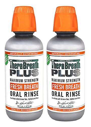 테라브레스 플러스 가글 초강력 그린티 470ml * 2팩 TheraBreath PLUS Fresh Breath Extra Strength Green Tea Oral Rinse, 16 Ounce (Pack of 2)