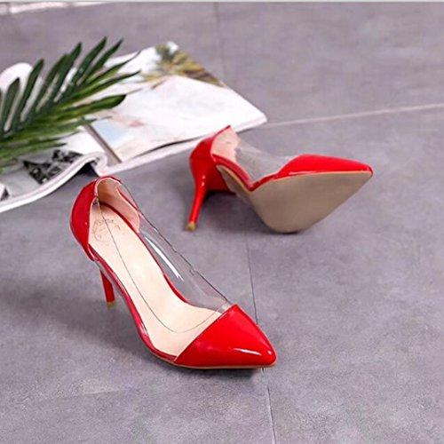 Talons Pointus Chaussures De Mariage pour Femmes Rawdah Femmes Pompes Transparent Hauts Talons Sexy Pointu Toe Slip-on Chaussures De Fête De Mariage Rouge 79IzGvg