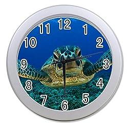 Dong Cun Bai Lonely Sea Turtle Wildlife Turtle in The Sea Ocean Animal Personalized Custom Alarm Clock Children Bedroom Custom Wall Clock Black Unique Custom Wall Clock