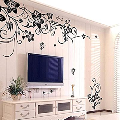 Hot Sale!Flowers and Vine Wall Sticker,Canserin Hee Grand Removable Mural Decal