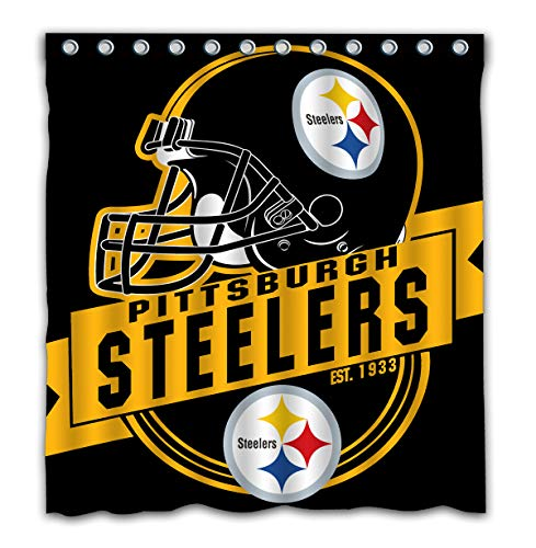 Felikey Custom Pittsburgh Steelers Waterproof Shower Curtain Colorful Bathroom Decor Size 66x72 Inches