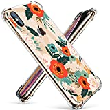GVIEWIN Compatible for iPhone Xs/X Case, Clear Flower Pattern Design Soft & Flexible TPU Ultra-Thin Shockproof Transparent Floral Cover, Cases iPhone X/iPhone 10 (Floral Blooming)