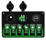 4 switch panel - DCFlat 5 Pin 4 Gang / 6 Gang Car Marine Boat Circuit RV LED Rocker Switch Panel Breaker Voltmeter USB for RV Car Boat Blue / Red / Green Light (6 Gang Aluminum Green)