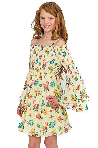 Truly Me, Big Girls' Spring/Summer Easy Off-The-Shoulder Long Sleeve Printed Skater Dress with Smocking, Size 7-16 (Pastel Yellow Floral, 14)]()