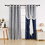 Deconovo Mix And Match Curtain Set 2-Piece Triangle Printed Navy Blackout Curtains and 2-Piece White Window Sheer Curtains for Kids Room Navy Blue with Grommet Top, 4 Curtain Panel, 52W x 84L Inch For Sale