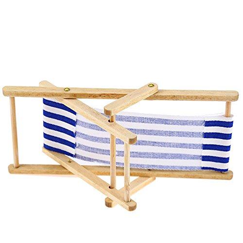 2pcs 1 12 Miniature Dollhouse Foldable Wooden Beach Chair