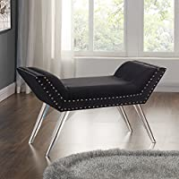 Armen Living LCSIBEBL Silas Bench in Black Velvet and Acrylic Finish