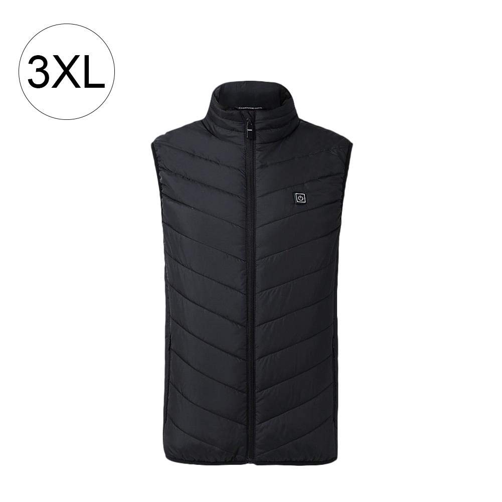 Electric Heated Vest, USB Rechargeable Heated Body Warmer Down Vest, Washable and Adjustable Heated Clothing for Outdoor Bicycling/Skiing/Motorcycle/Ice Fishing/Hiking/Hunting(Black) Shine-U