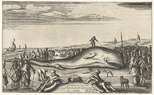 """Classic Art Poster - Stranded sperm whale on the beach in Noordwijk, 1614, Esaias van de Velde, 1614-1615 11"""" x 17"""""""