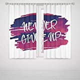 iPrint Gaming Bedroom Curtains Fitness Watercolor Blot Brushstrokes with Never Give Up Text Encouraging Approach Decorative High-Precision Blackout CurtainFuchsia Indigo White