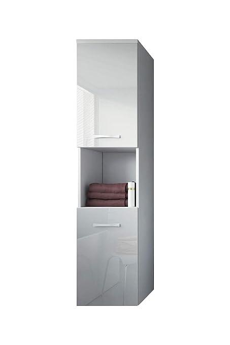 Badplaats BV Badezimmer Schrank Montreal 131 cm Weiß Hochglanz Fronten –  Regel Schrank Hochschrank Schrank Möbel