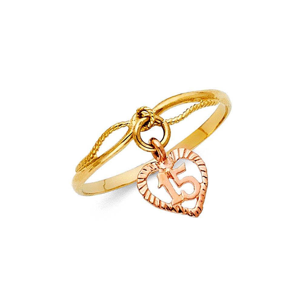 FB Jewels 14K White and Yellow Gold Two Tone Fifteen 15 Year Birthday Quincea/ñera Fashion Anniversary Ring