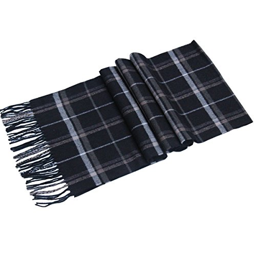 Lucky Leaf Women Men Winter Cozy 100% Wool Warm Tartan Checked Plaid Wrap Scarf (1-Black Plaid) ()