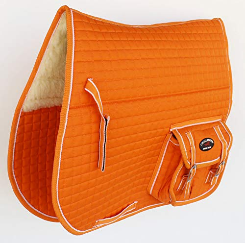 Challenger Horse Quilted English Saddle PAD Pockets Half Fur Padded Australian 7274 by Challenger