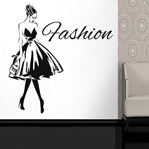 Wall Decal Window Sticker Beauty Salon Woman Face Fashion Style Clothing Boutique Dress Black Dress Model Hat t223