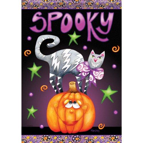 (Spooky Cat On Jack Garden Dura Soft Flag Karen)