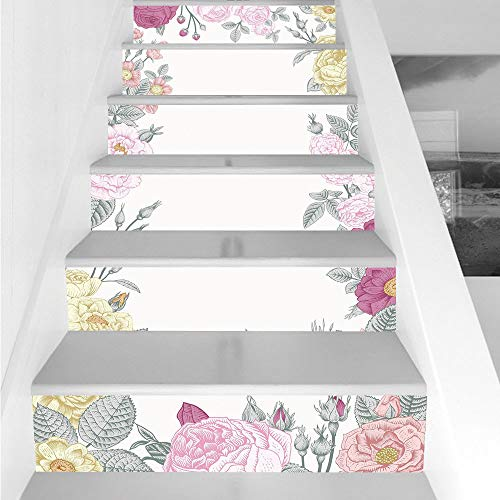 Stair Stickers Wall Stickers,6 PCS Self-adhesive,Shabby Chic Decor,Garden of Wild Roses Framework Vintage Colorful Botanical Illustration Decorative,Multicolor,Stair Riser Decal for Living Room, Hall, ()