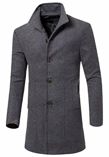 Grey Business Long Coat Slim Fashion Jacket French Men's Fit today UK Front Classic XnwSgn17q