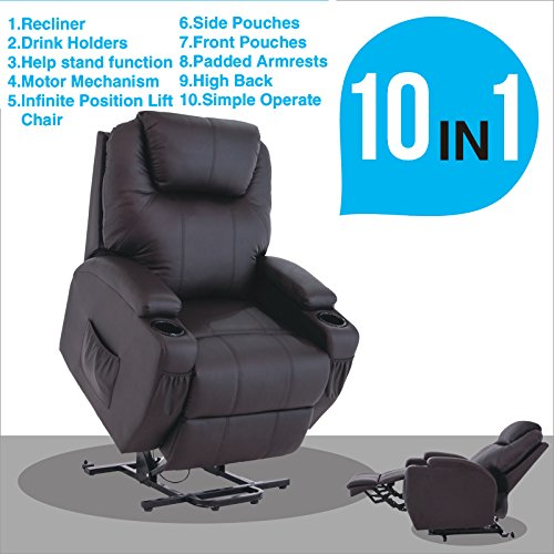 Mecor Electric Power Lift Recliner Chair Comfortable Leather for Elderly with Remote Control,Heavy Duty Reclining Machanism,Living Room Lounge Furniture Chair (Brown) (Recliner Electric Leather)