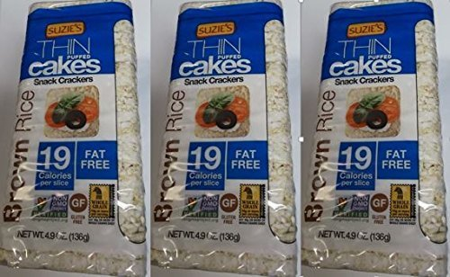Cake Brown Rice (Suzie's Whole Grain Brown Rice Thin Cakes UNSALTED, 4.9oz (3 PK))