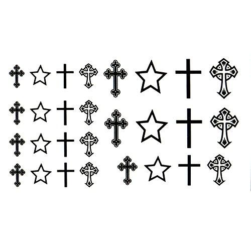 Oottati Small Cute Temporary Tattoo Cross (2 Sheets)