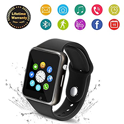 Bluetooth Smart Watch - 321OU Touchscreen Smartwatch Sport Smart Fitness Tracker Watch Smart Wrist Watch Support SIM TF Card with Camera for IOS iPhone Android Samsung LG for Kids Men Women (Black)