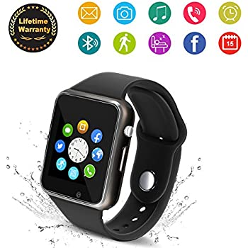 ... Wrist Watch Smartwatch Phone Fitness Tracker with SIM SD Card Slot Camera Pedometer Compatible iOS iPhone Android Samsung for Men Women Kid (Black)