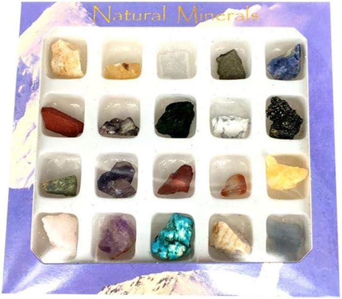 Bogget 20 Piezas de rodamiento Irregular Mini colección de Mineral Natural Colección de Joyas de Arte Conjunto de Regalo Cristal Piedra cruda Piedra de ágata Piedra de Mineral Crudo Roca