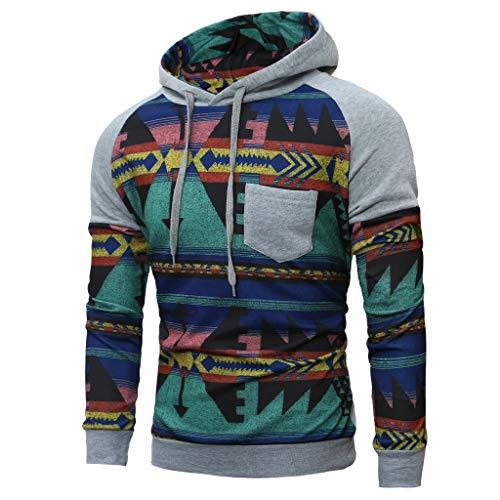 ANJUNIE Men Spring Winter Long Sleeve Hooded Sweatshirt Printed Tops Slim Pullover(Gray,M)