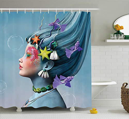 Ambesonne Mermaid Shower Curtain, Woman with Underwater Themed Make up Hairstyle Starfishes Seashells Fishes Bubbles, Cloth Fabric Bathroom Decor Set with Hooks, 70