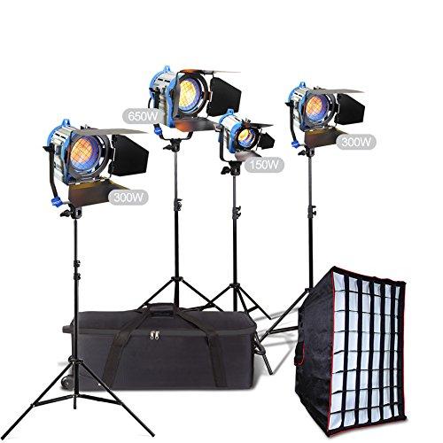 (Alumotech 150Watt+2X300Watt+650Watt+Stands +Softbox 1400Watt Fresnel Tungsten Spotlight Halogen Lamp Studio Video Light Kit Air Cushioned Stands For Camera Lighting Compatible Bulb )