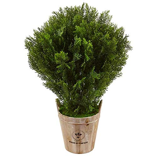 Artificial Plant -3 Foot Cedar with Barrel Planter Silk Plant