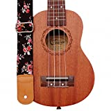 MUSIC FIRST Original Design Rosa Multiflora in Black Soft Cotton & Genuine Leather Ukulele Strap Ukulele Shoulder Strap
