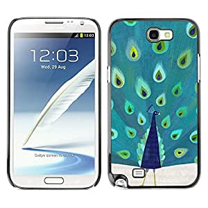 Planetar® ( Peacock Mint Green Blue Teal Bird Nature ) SAMSUNG Galaxy Note 2 II / N7100 Fundas Cover Cubre Hard Case Cover