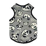 Fitwarm Cute Panda Dog Shirts Pet Clothes Dog Tank Top Summer Vest, Black, XS